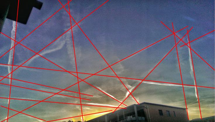 Bild mit Streifen rot